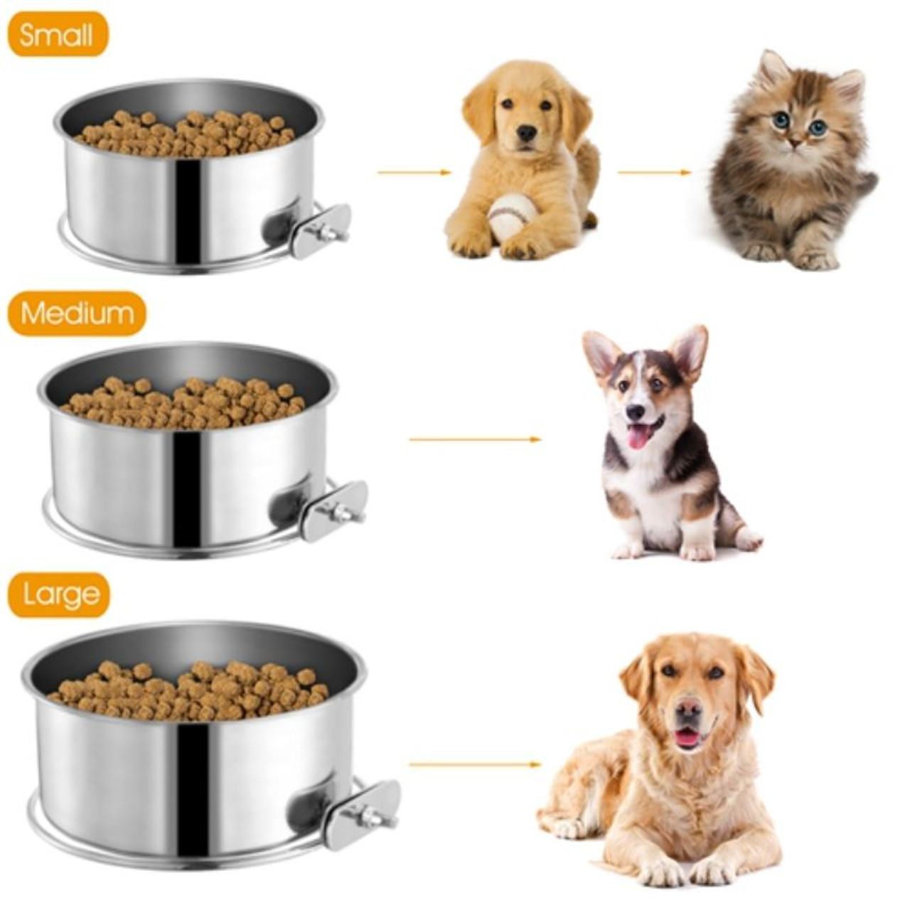Stainless Steel Dog Food Bowl - 1 or 2 Pack