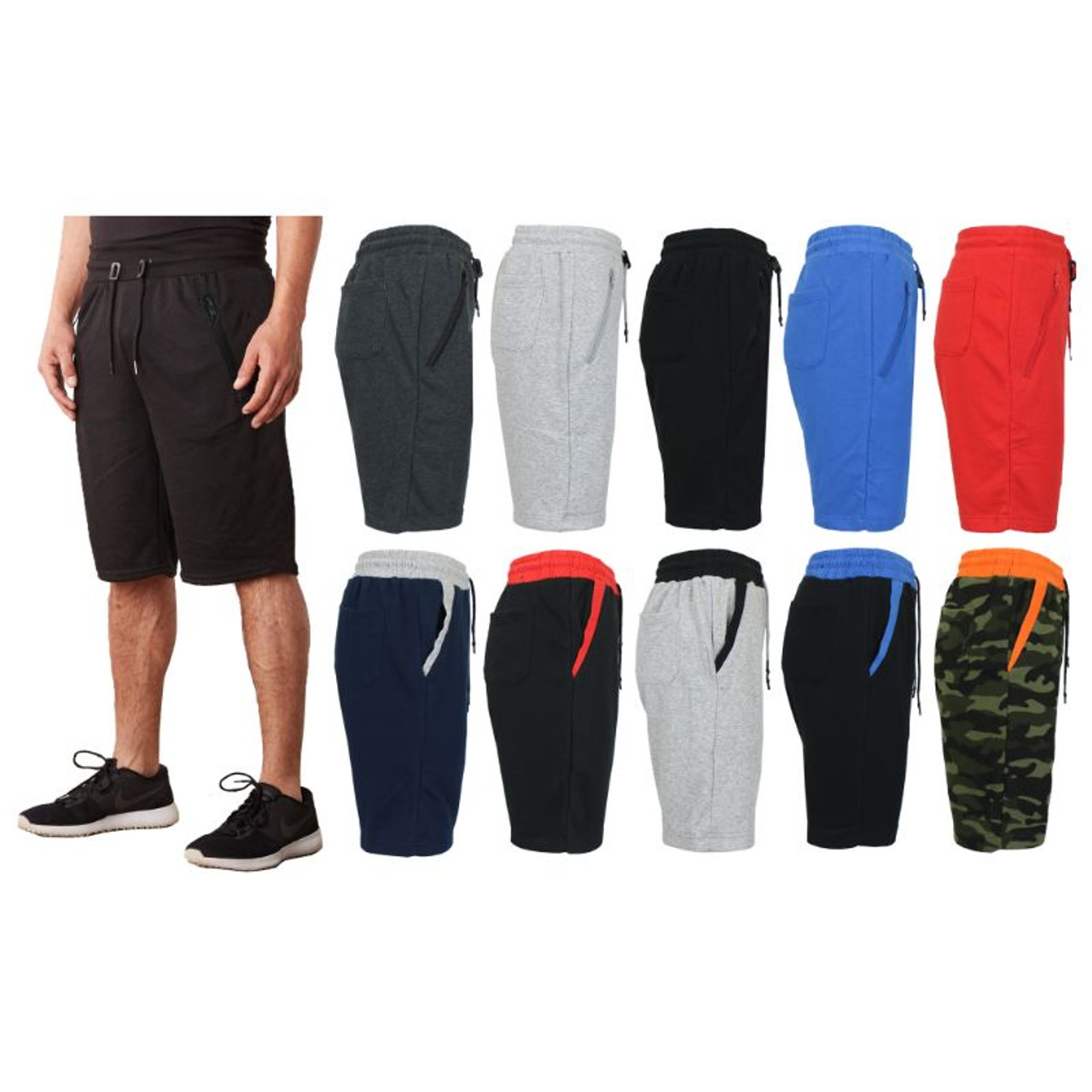 Men's French Terry Jogger Sweat Shorts - 3 Pack