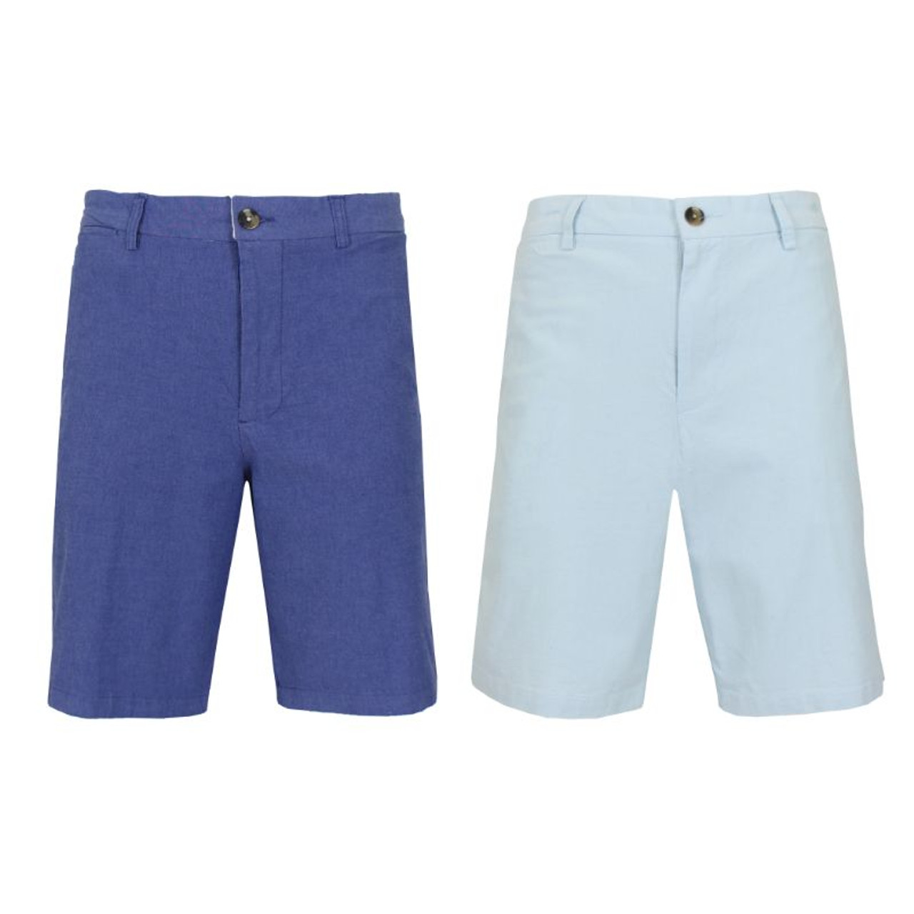 Men's Flat-Front Cotton Stretch Oxford Chino Shorts - 2 Pack