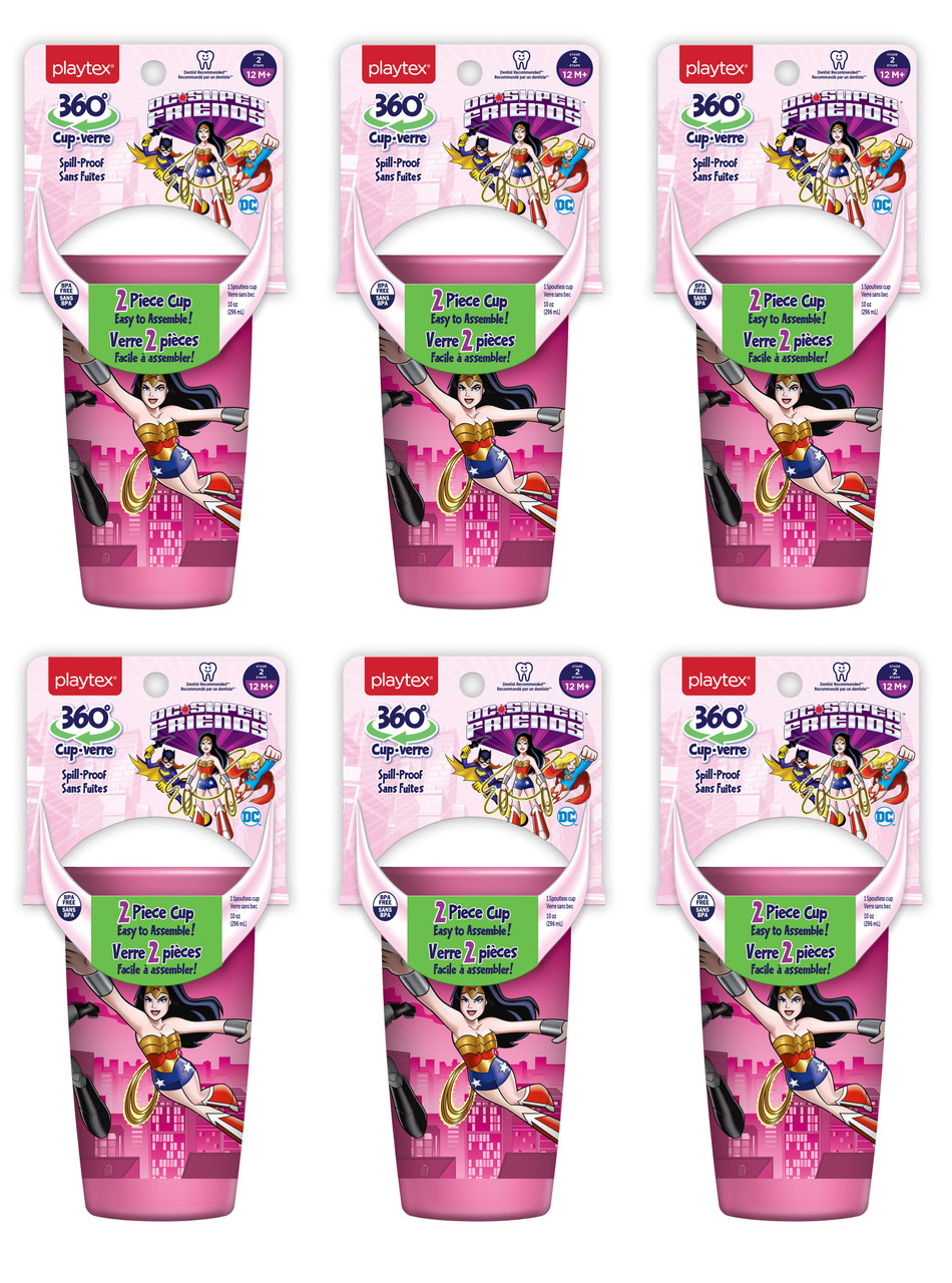 Playtex 360 degree Spoutless Cup, DC Super Friends, Pink, Stage 2, 12M+, 10 oz