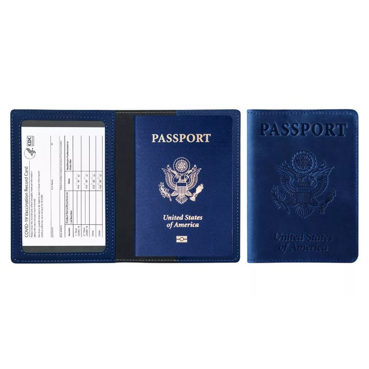 RFID Multi Function Passport Holder with CDC Vaccination Card Slot