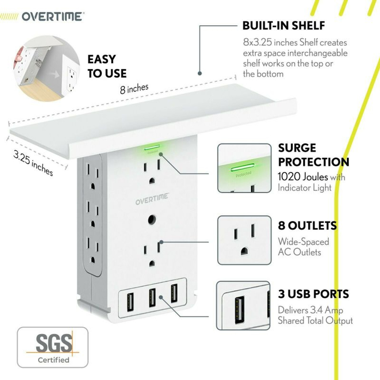 Outlet Extender with USB and Shelf Surge Protector, 8x Sockets, 3x USB Port - 2 Pack