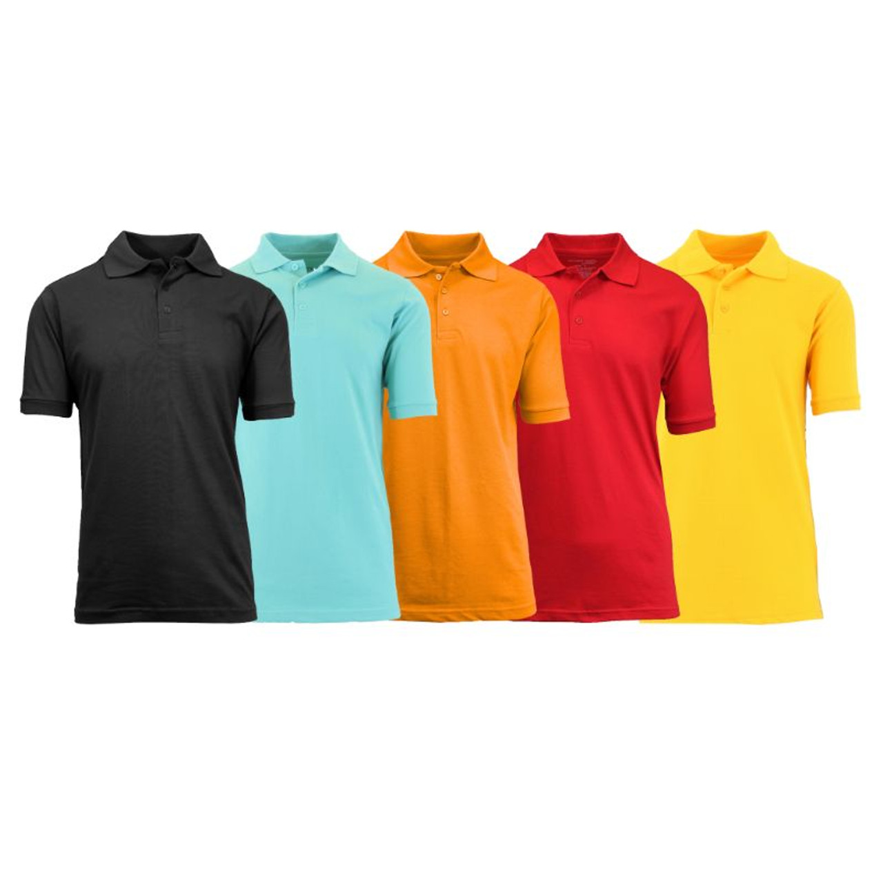 Men's Short-Sleeve, Semi-Fitted Polo Shirts - 5 Pack