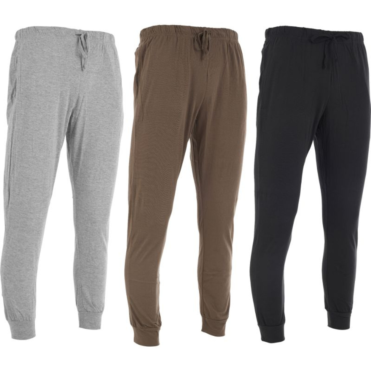 Men's Casual Knit Pajama Bottom Loungewear Pants with Pockets - 3 Pack
