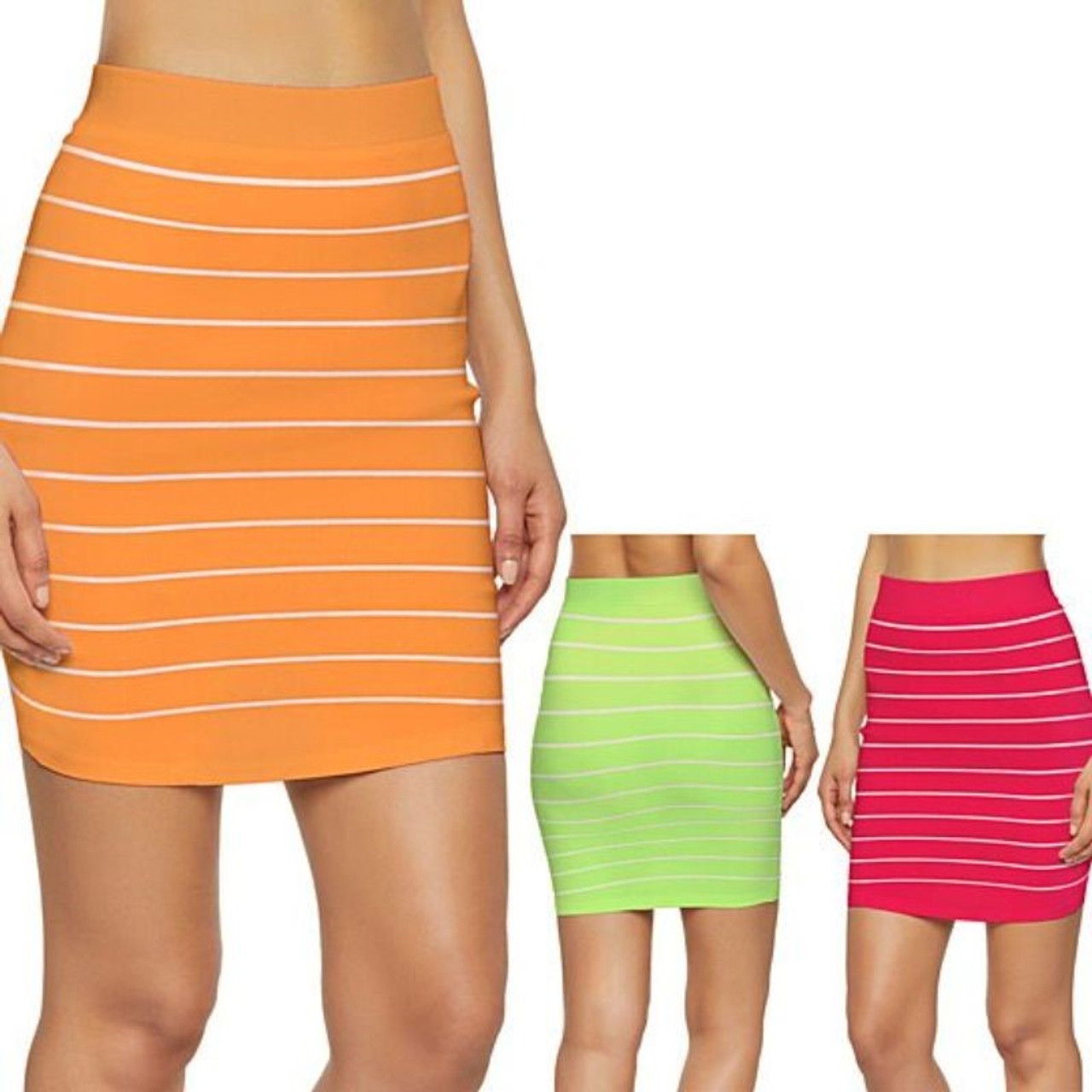 Women's Seamless Bandeau Tube Top and Pull-On Mini Skirts Set - 2 Pack