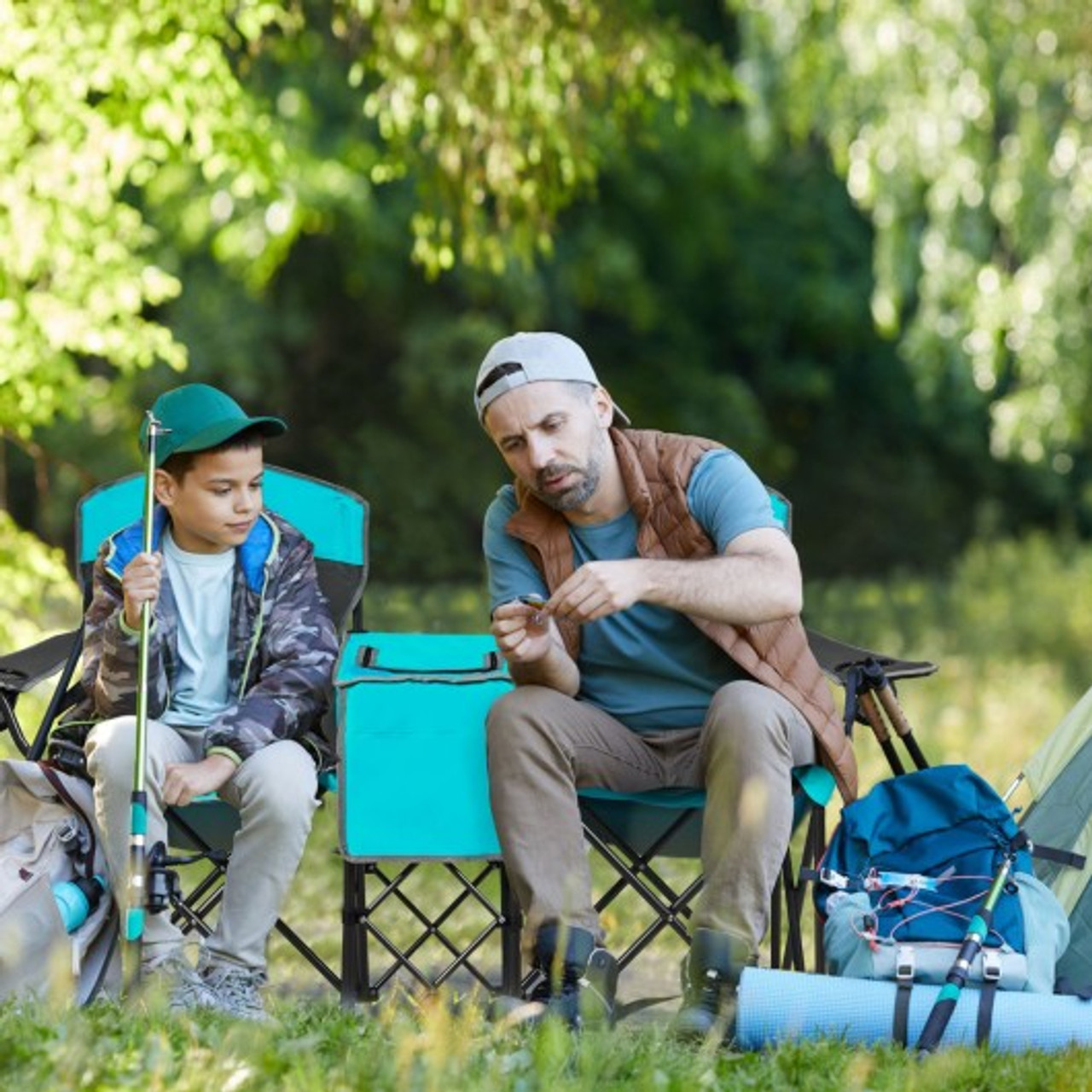 Portable Folding Camping Canopy Chairs with Cup Holder