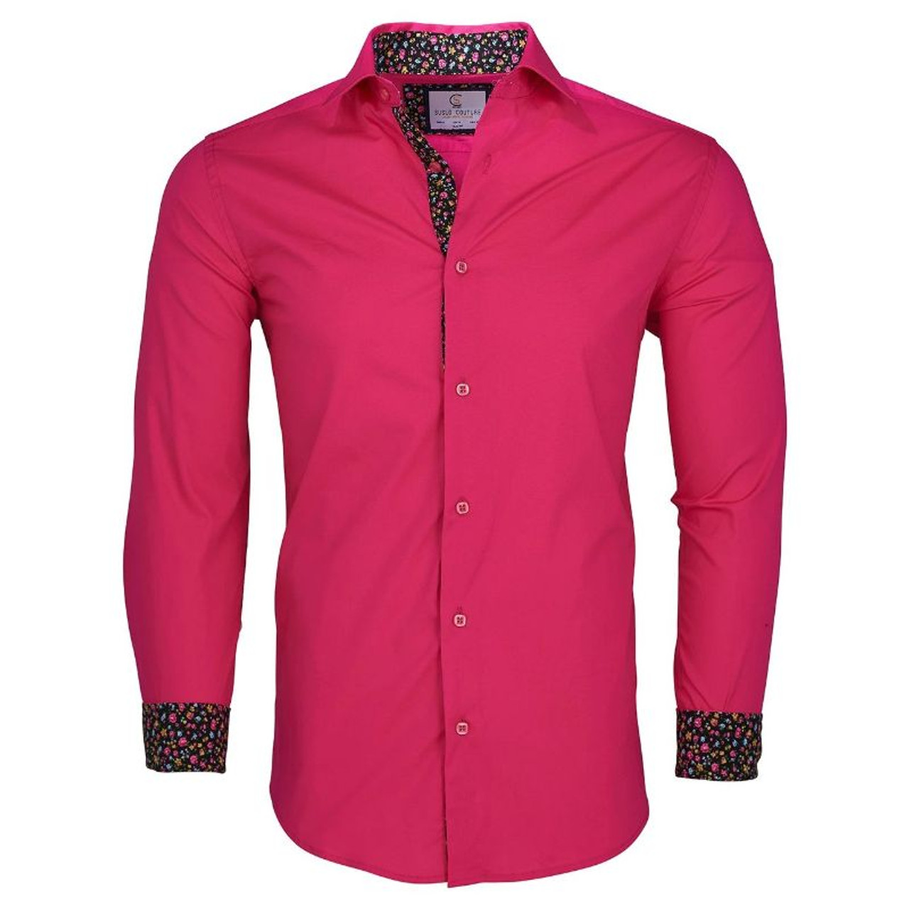 Suslo Couture Men's Slim Fit Solid Casual Button Down Shirt