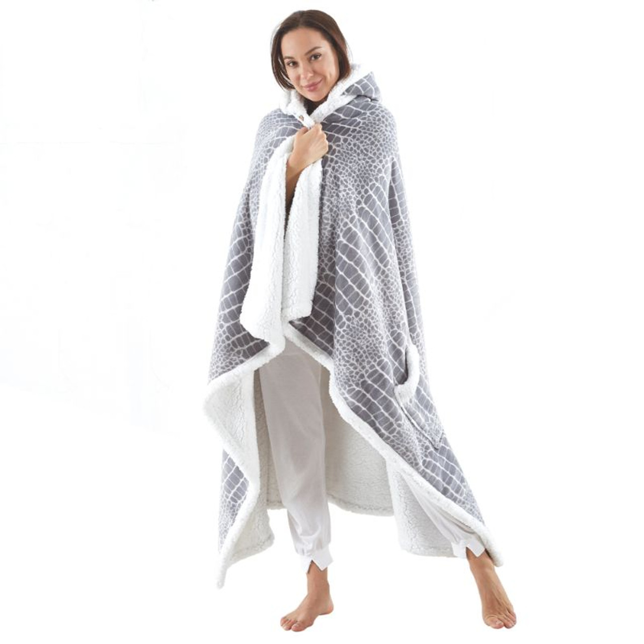 """Cozy Tyme Lucian Reversible Sherpa Blanket with Hoodie - 50"""" x 70"""""""