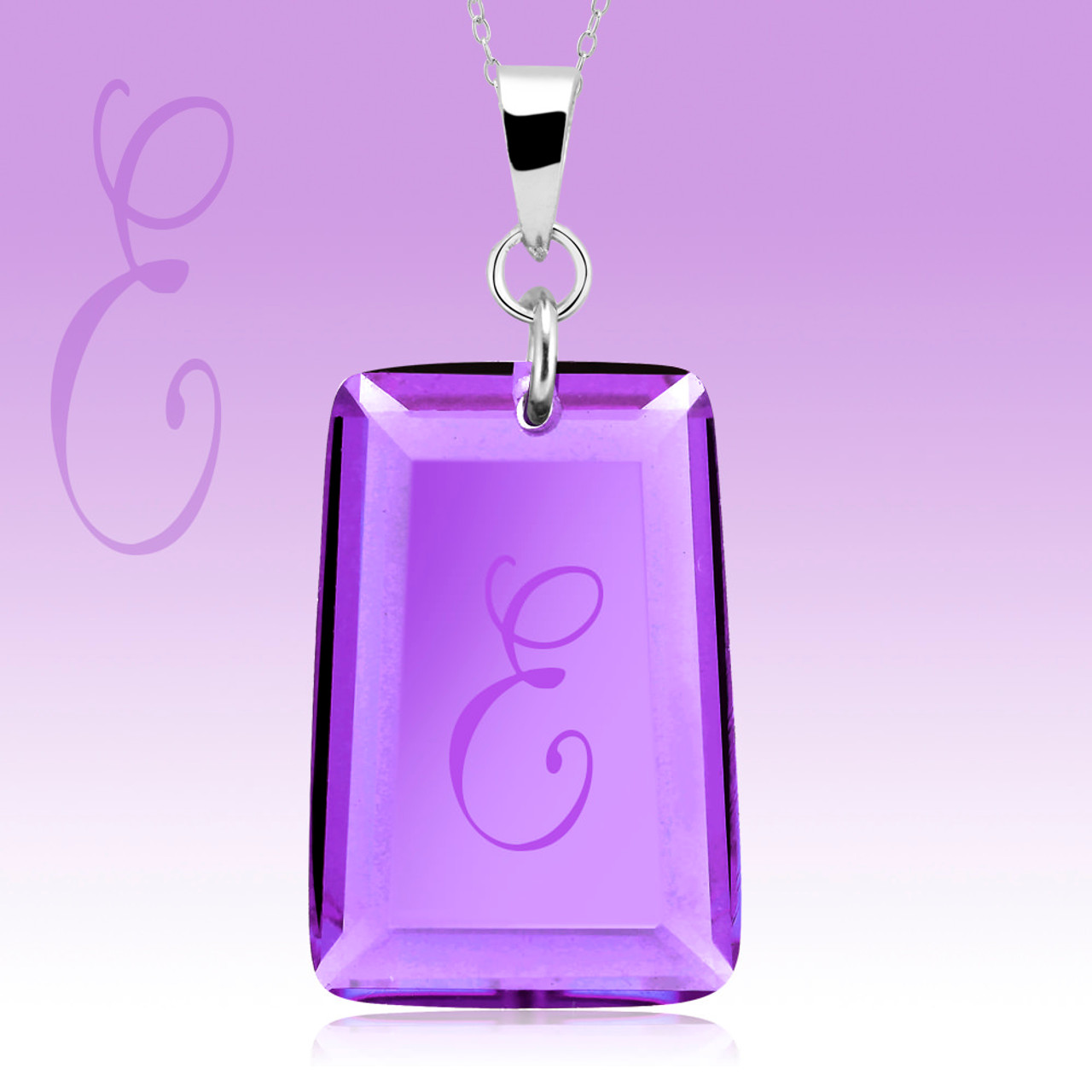 Amethyst Crystal Drop Necklace with Initial