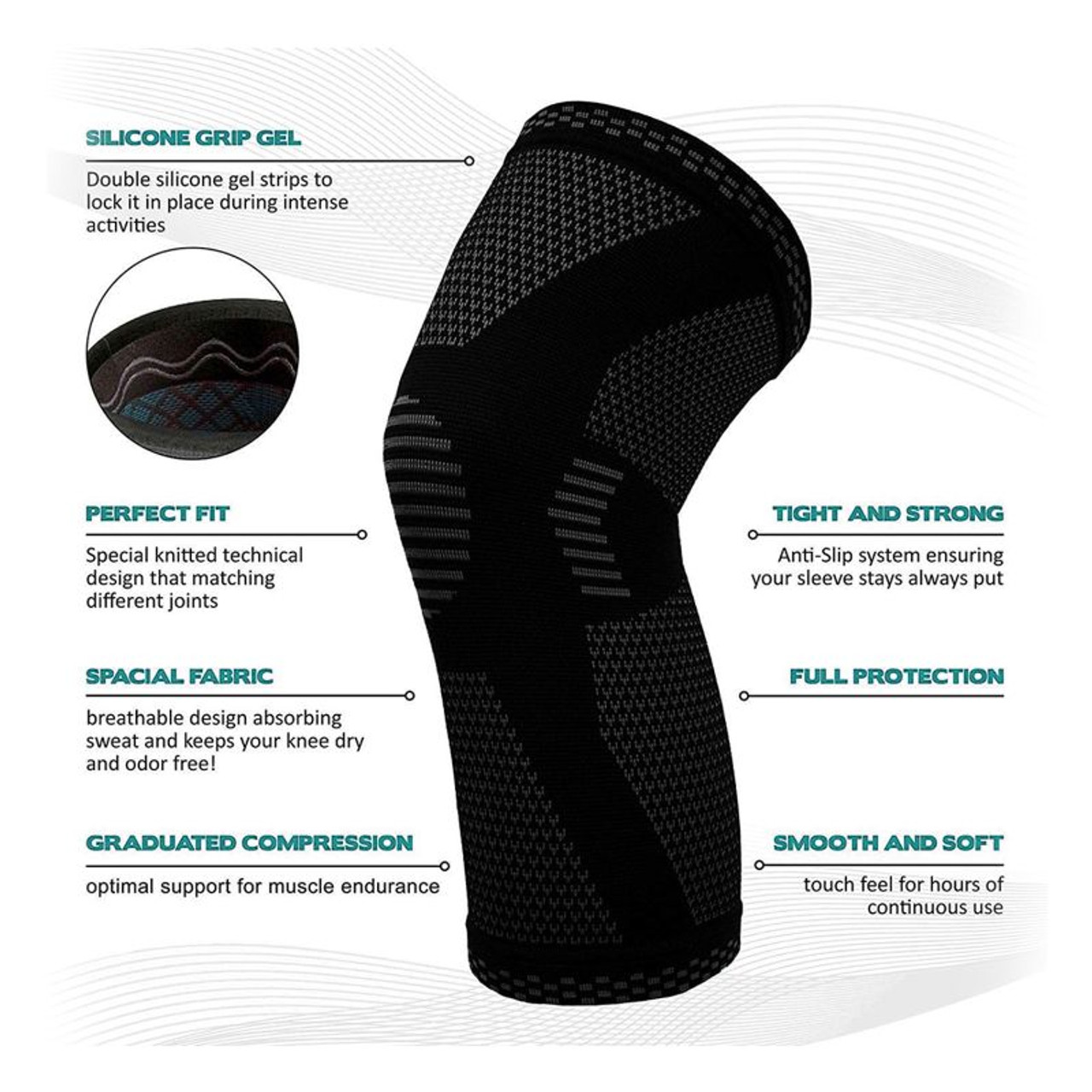 Support and Recover Knee Compression Sleeve Brace With Gel Grip - 2 Pack