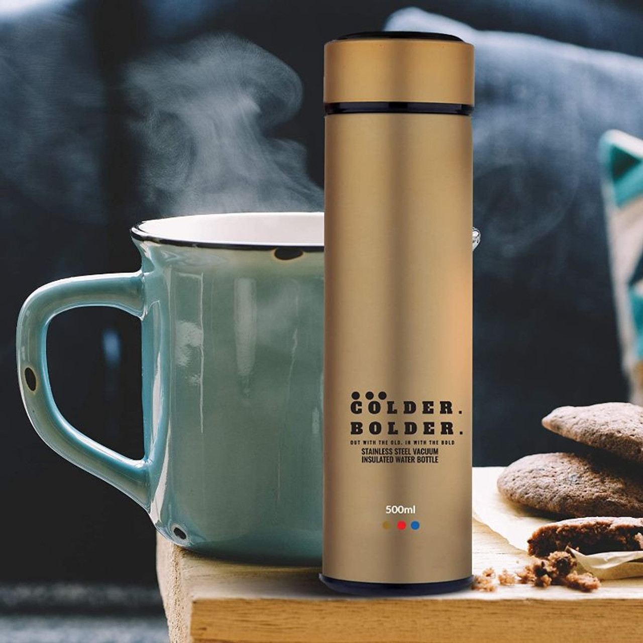 Colder Bolder Insulated Stainless Steel 17oz Water Bottle and Straws