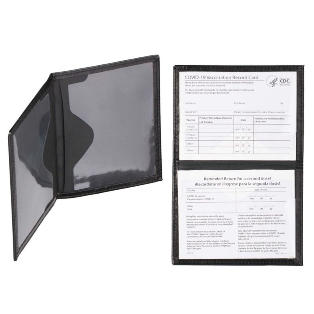 Faux Leather CDC Vaccination Card Immunization Record Protector - 2 Pack