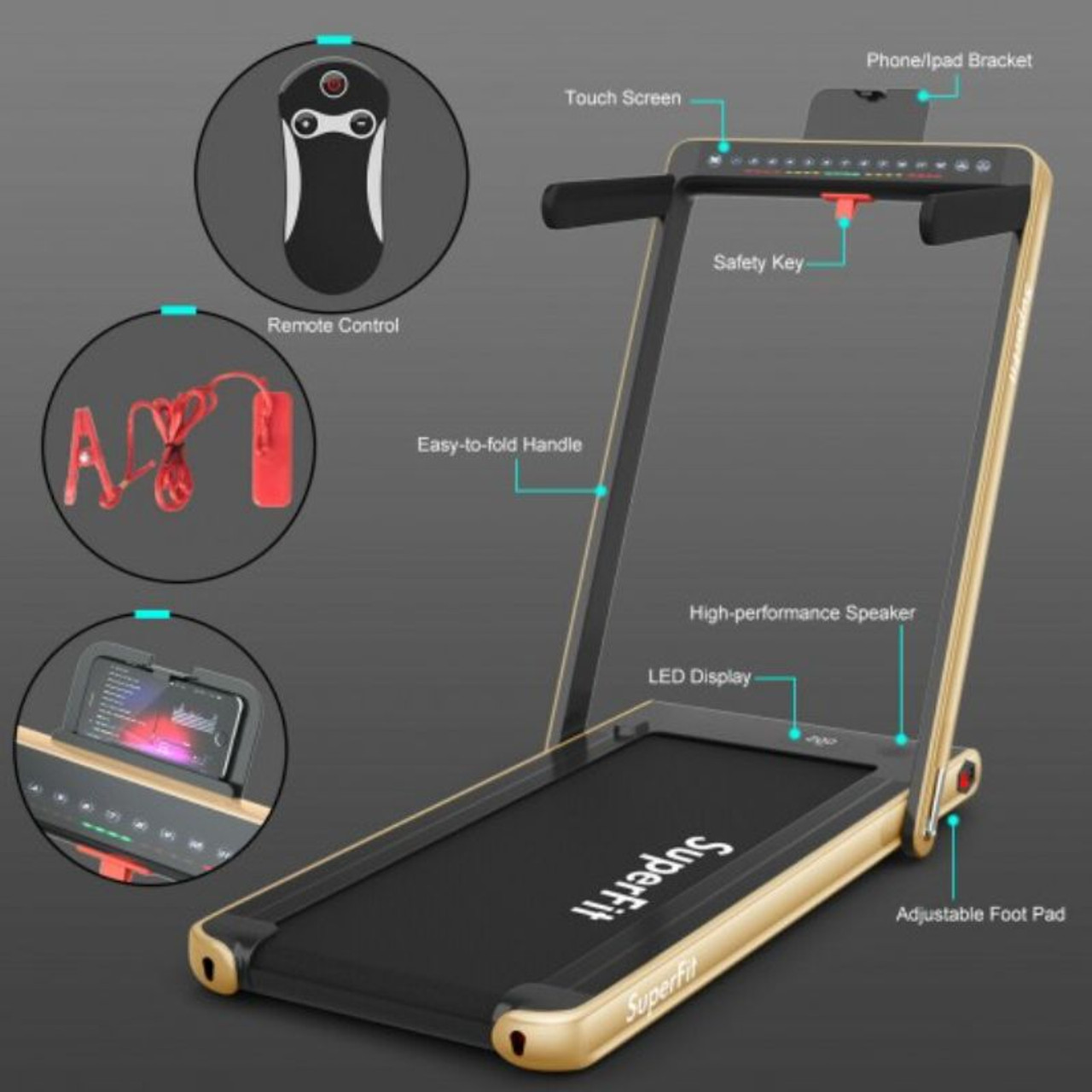 2.25HP Electric Motorized Fitness Folding Treadmill with Dual Display