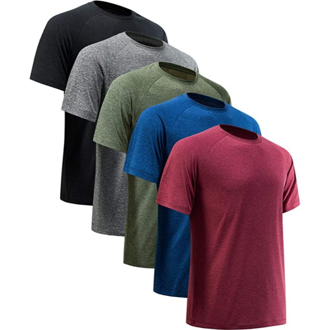 Men's Active Athletic Dry-Fit Performance Tees - 5 Pack