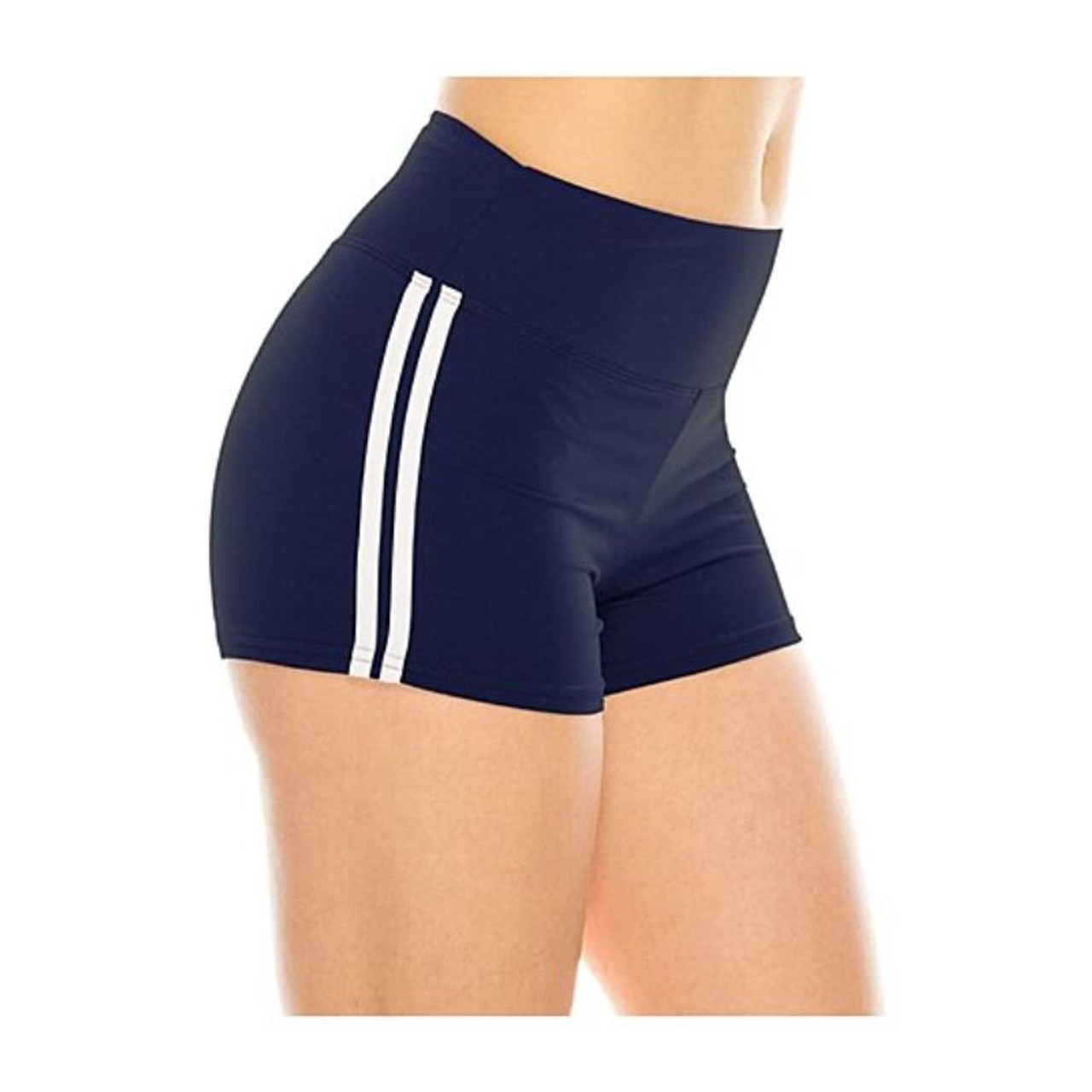 Women's Ultra-Soft Stretchy Athletic Workout Yoga Shorts With Stripes - 4 Pack