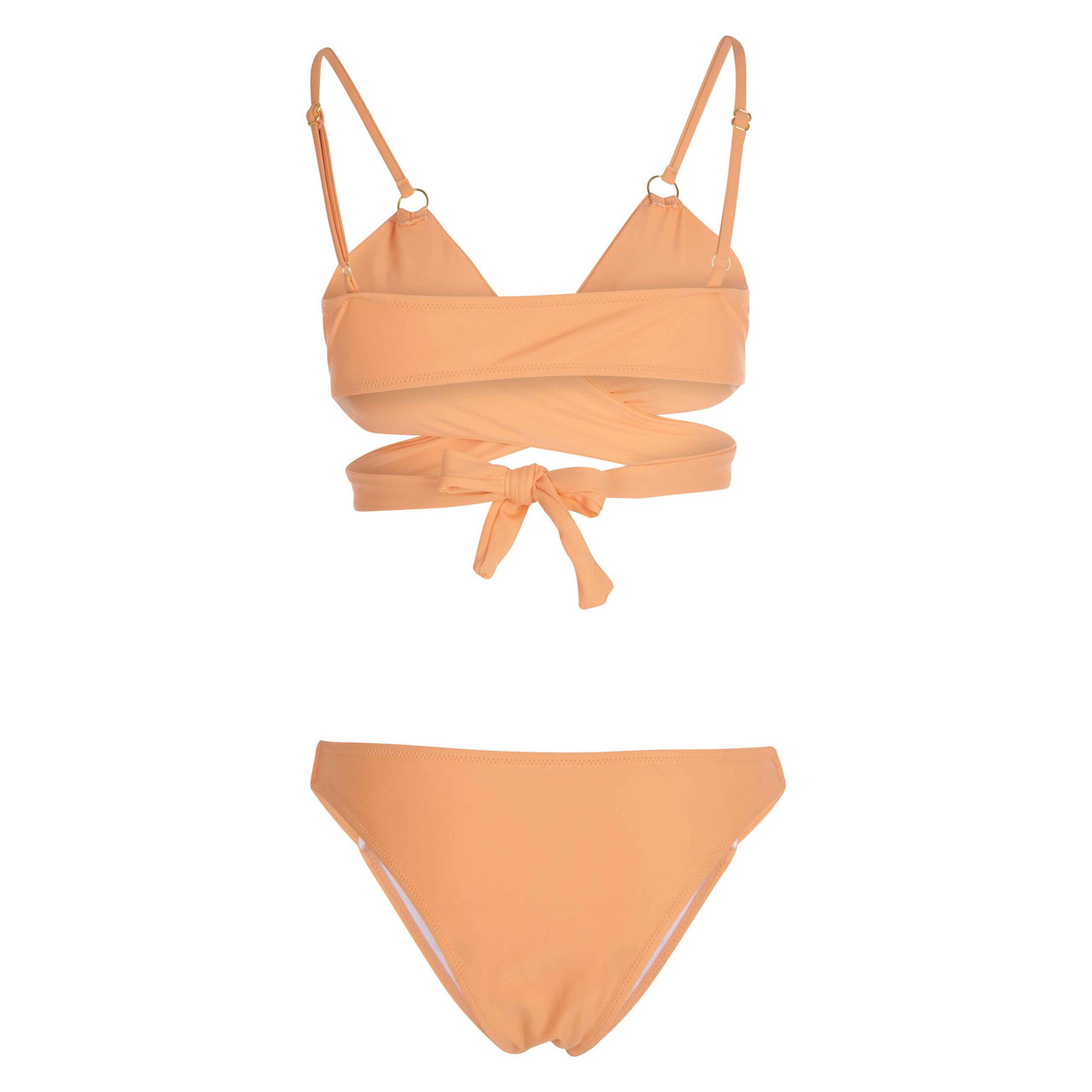 Women's Coral Wrap-Around Bikini Bathing Suit with Cut-Outs