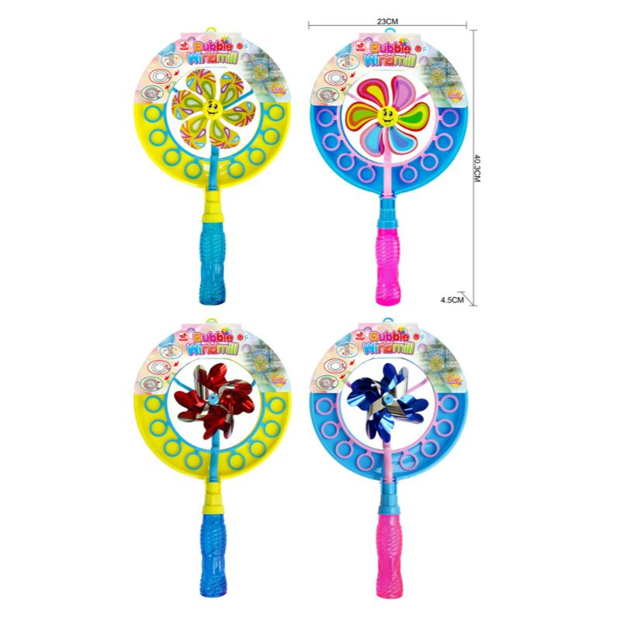 15.5 Inch Bubble Blower and Pinwheel Spinner for Kids with Solution in Handle - 2 Pack