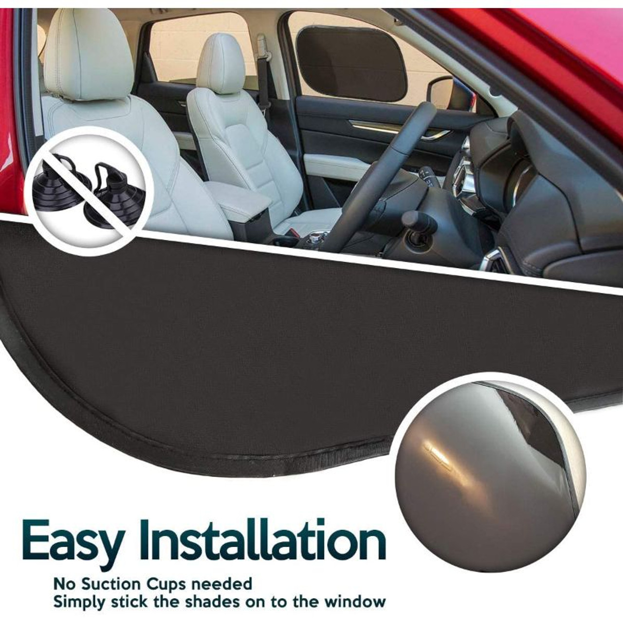 Pop-Up Car Window Cling On Mesh Sun Shades No Suction Cups Needed - 2 Pack