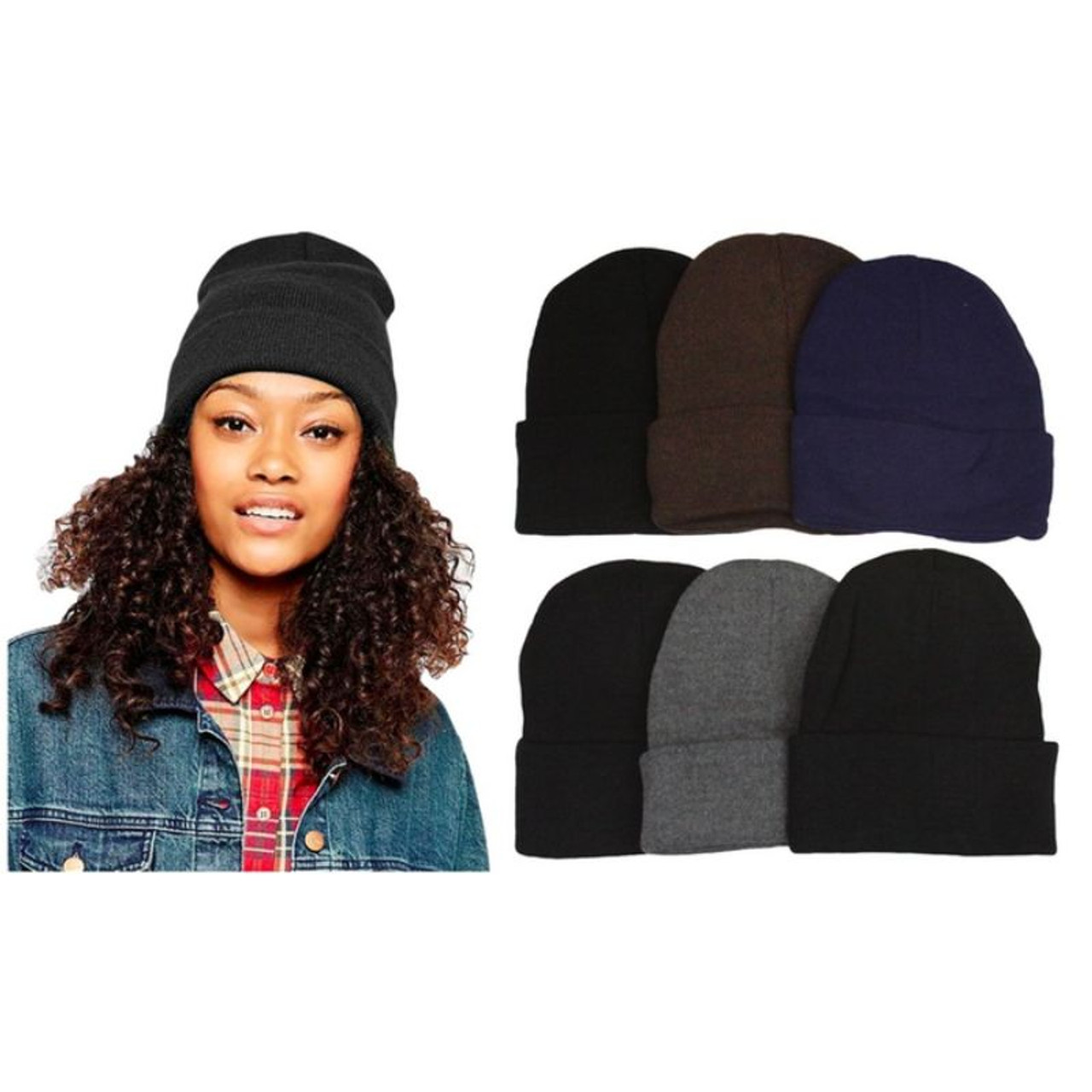 Unisex Warm Double-Layered Beanies - 6 Pack