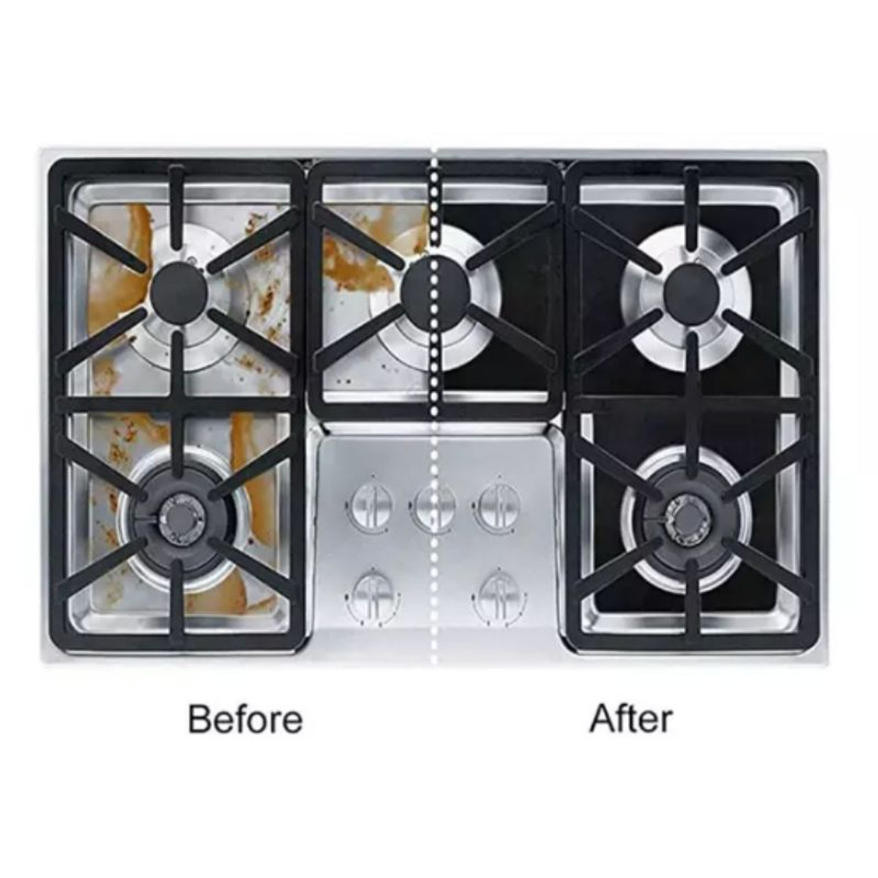 Reusable Non-Stick Liners for Gas Stovetops - 4 Pack