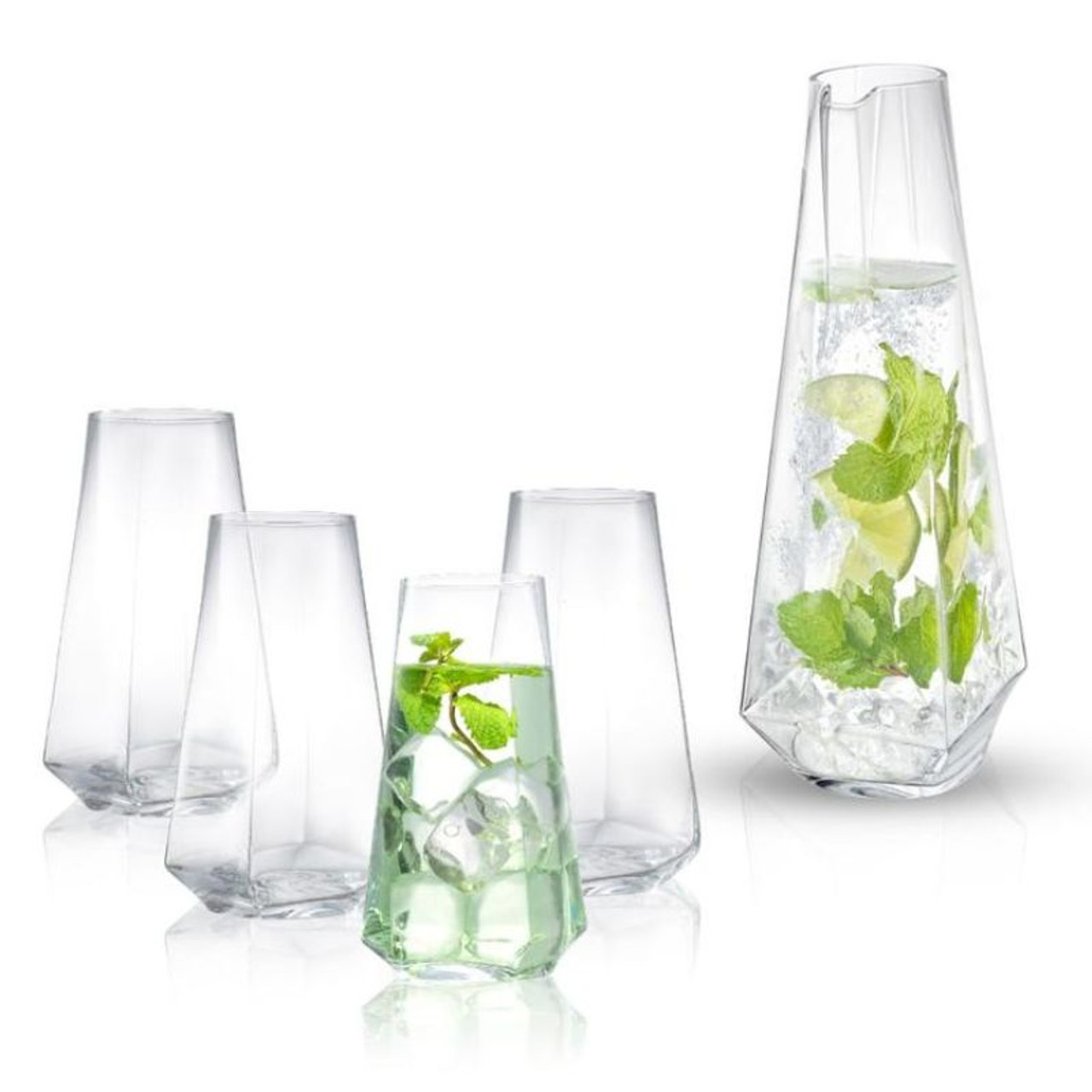 Infiniti Crystal Highball 18oz Glasses and Deluxe Beverage 43oz Pitcher Set