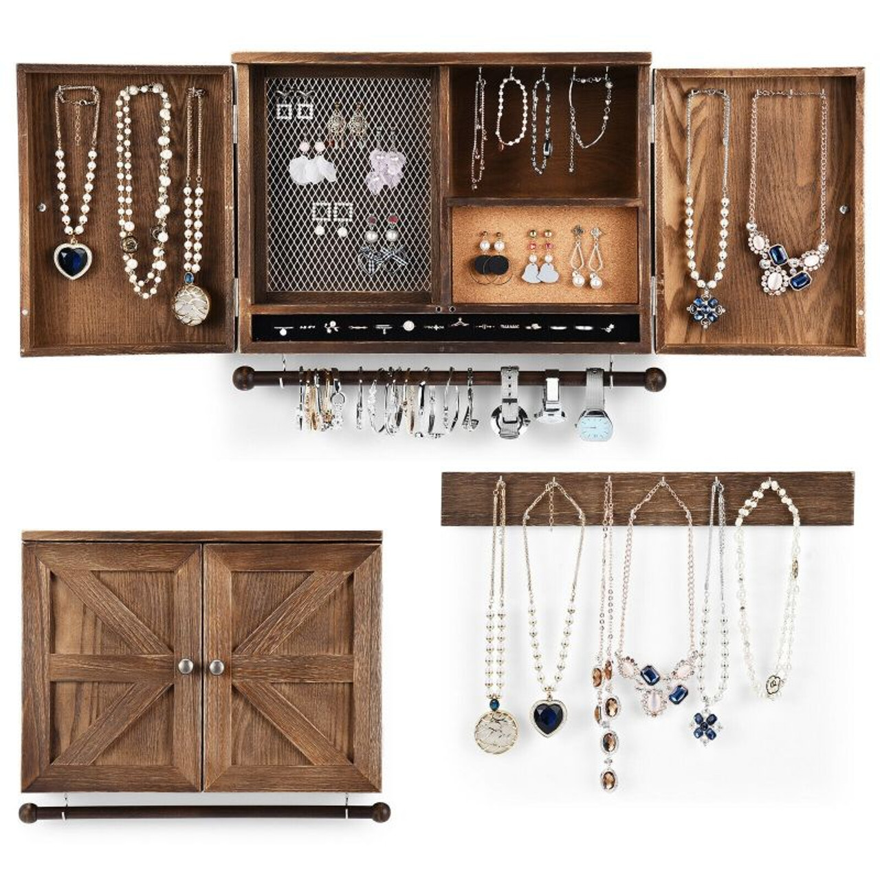Rustic Wall Mounted Jewelry Cabinet with Barn Door Decor