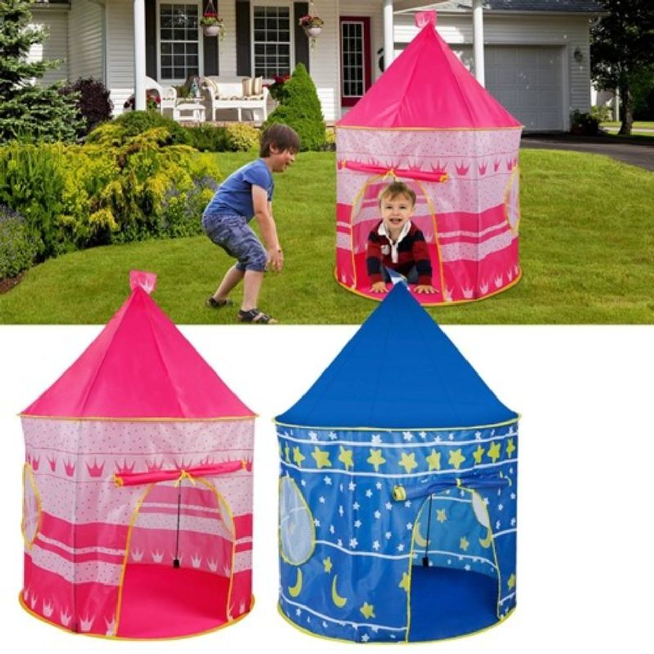 Indoor and Outdoor Kids Pop-Up Play Castle Tent with Carrying Bag