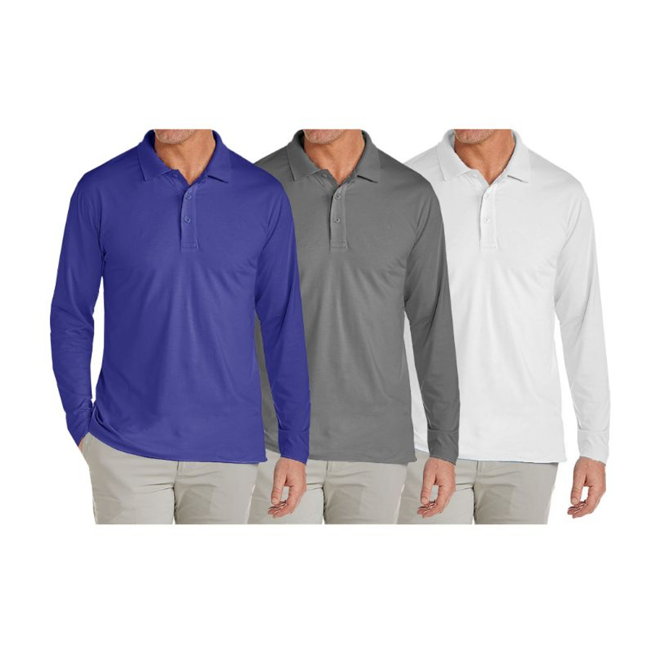 Men's Pique Long Sleeve Polo Shirts - 3 Pack