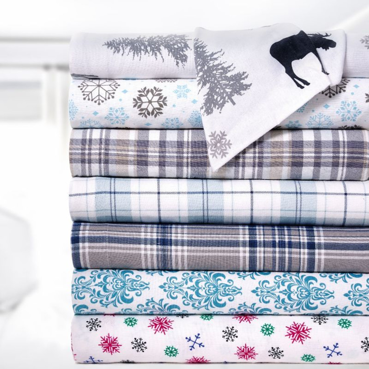 Bibb Home Holiday & Winter Printed Flannel Sheet Set 100% Cotton