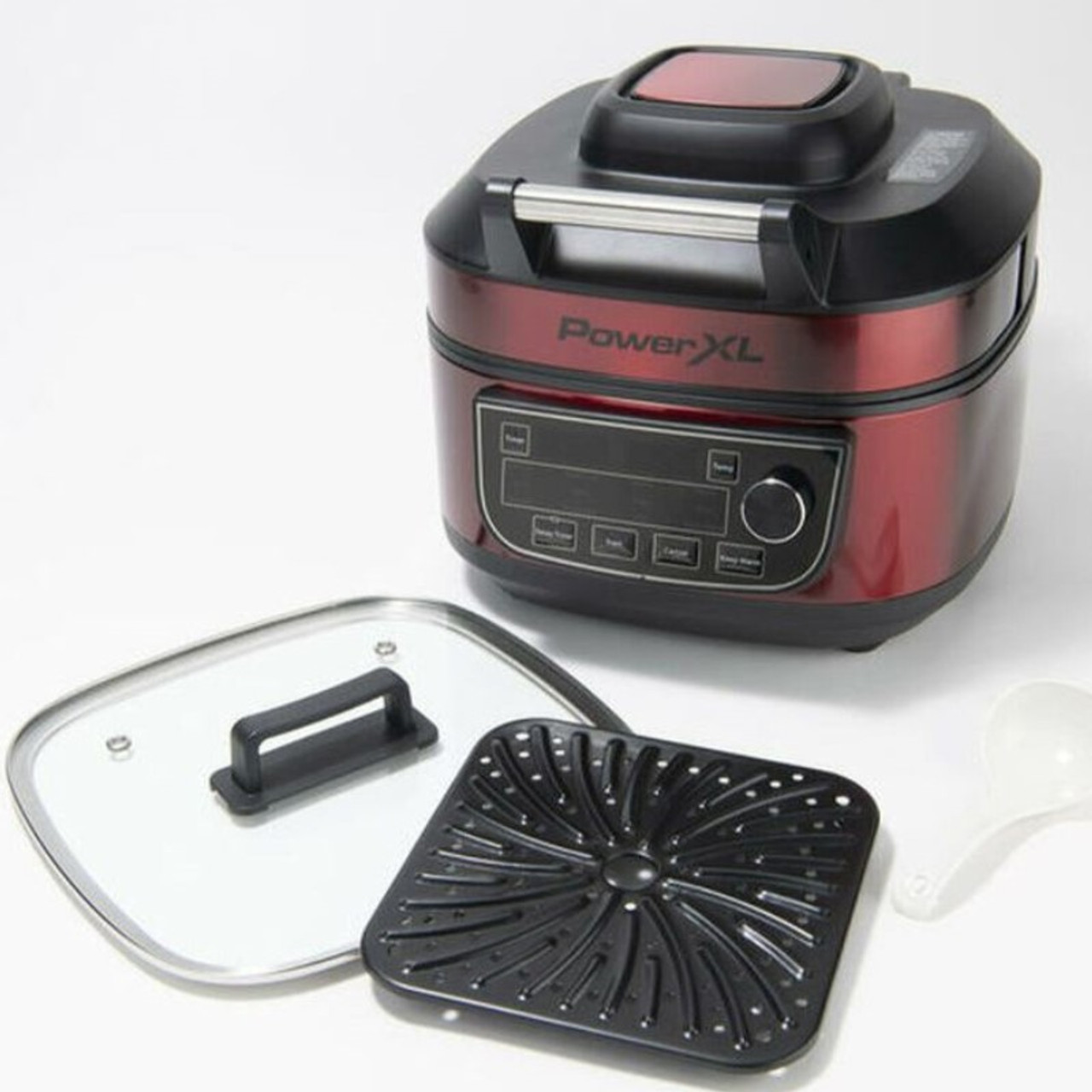 PowerXL 1550W 6-qt 12-in-1 Grill Air Fryer Combo with Glass Lid