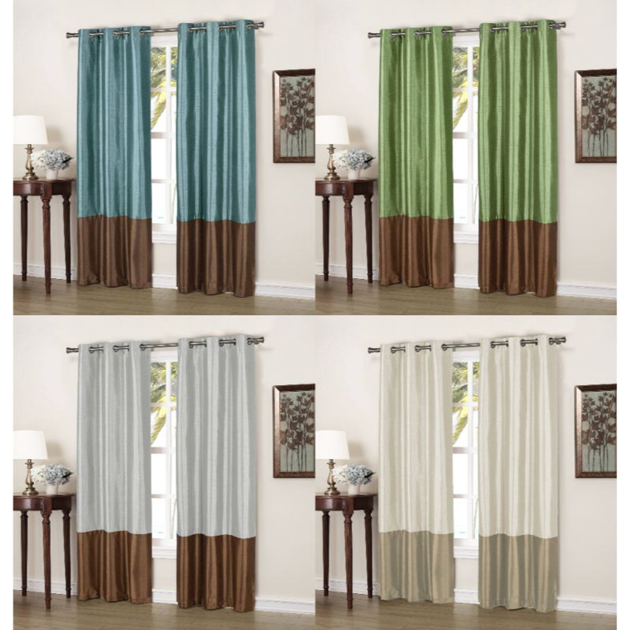 """Faux Silk Thermal Two Toned Blackout Grommet Window Curtain Panels, 37""""x84"""" - Set of 2"""