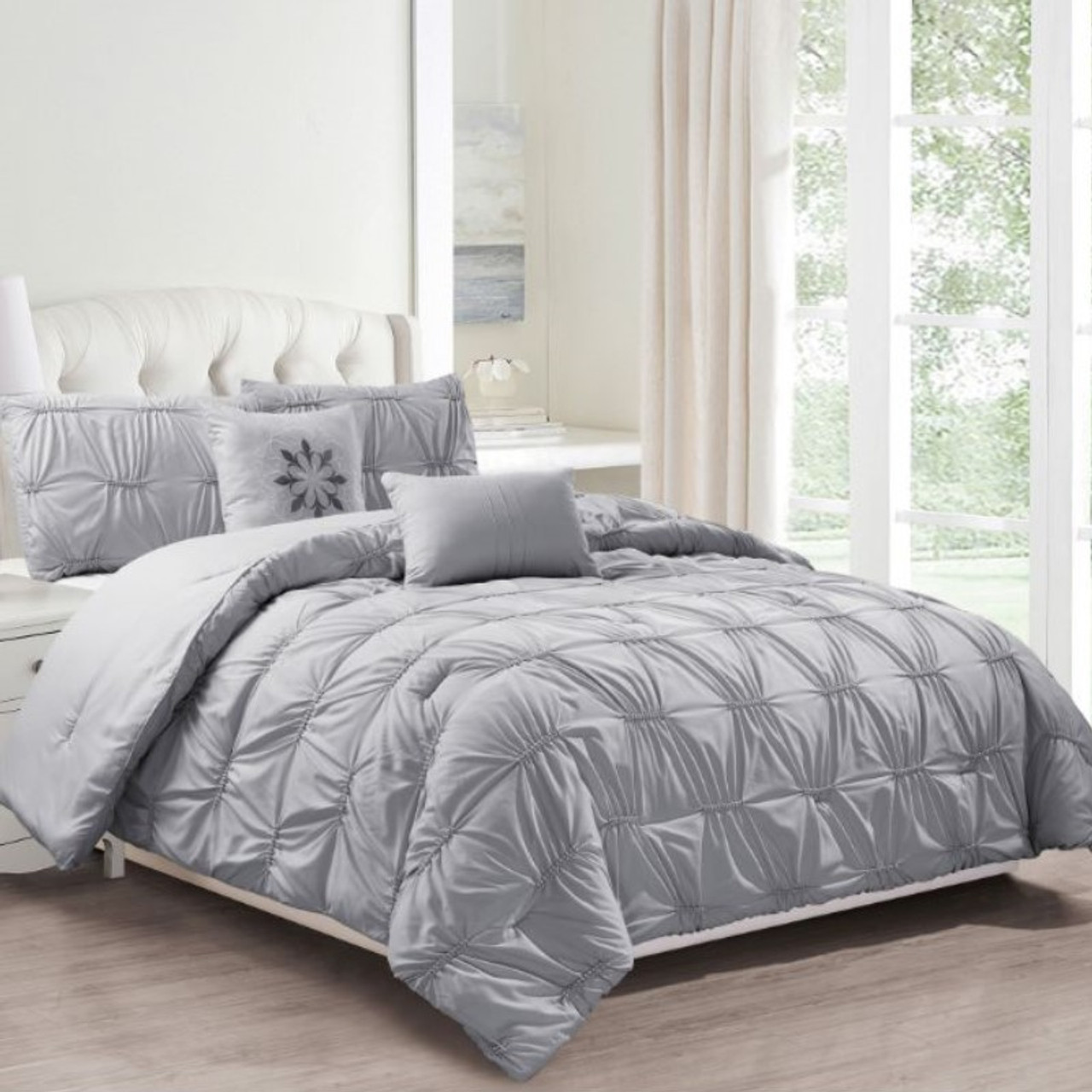 Solid Ruching Pintucked Oversized Comforter Set for a Queen Bed - 8 Piece