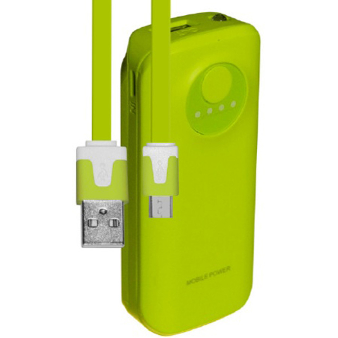 SYN 5200mAh Neon Power Battery Bank with USB Charging Cable in Green
