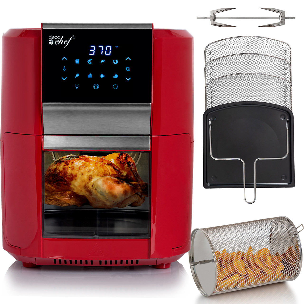 Deco Chef 12.7QT Digital Air Fryer Oven, with 3 Racks, Rotisserie, 8 Meal Presets, Red