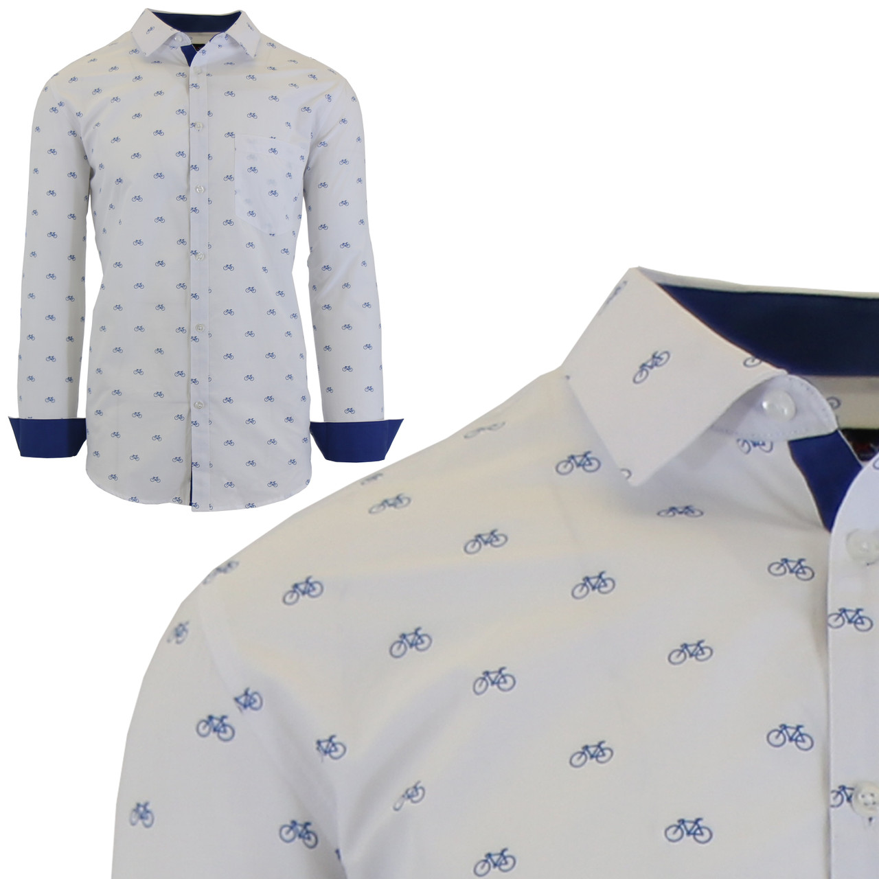 Men's Long Sleeve Printed Dress Shirts With Chest Pocket