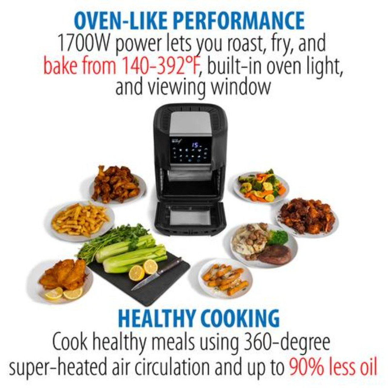 Deco Chef 12.7QT Digital Air Fryer Oven, with 3 Racks, Rotisserie, 8 Meal Presets, Black