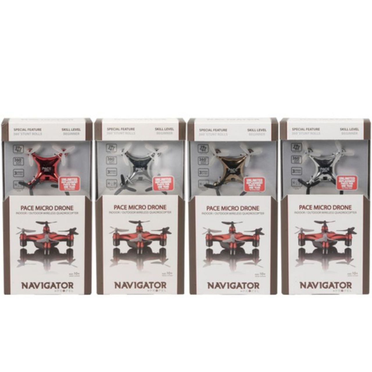 Propel Navigator Pace Micro Drone Wireless Quadcopter, Assorted Colors - NETIPMD