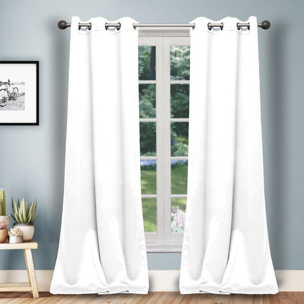 Solid Heavy Blackout Magnetic Window Curtain Pair Panel - Set of 2