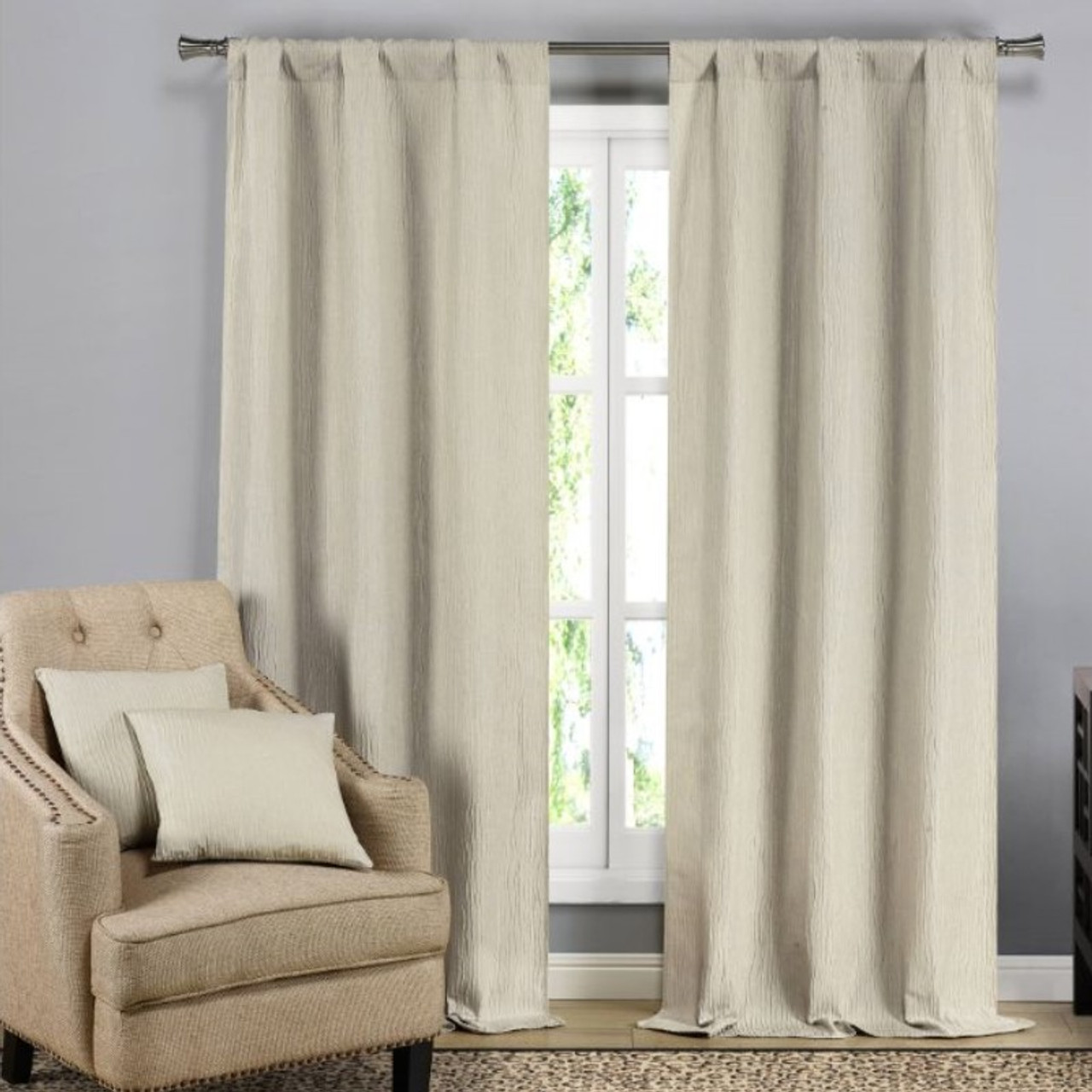 Solid Blackout Textured Curtain Panels with Decorative Pillow Covers - 2 Pack