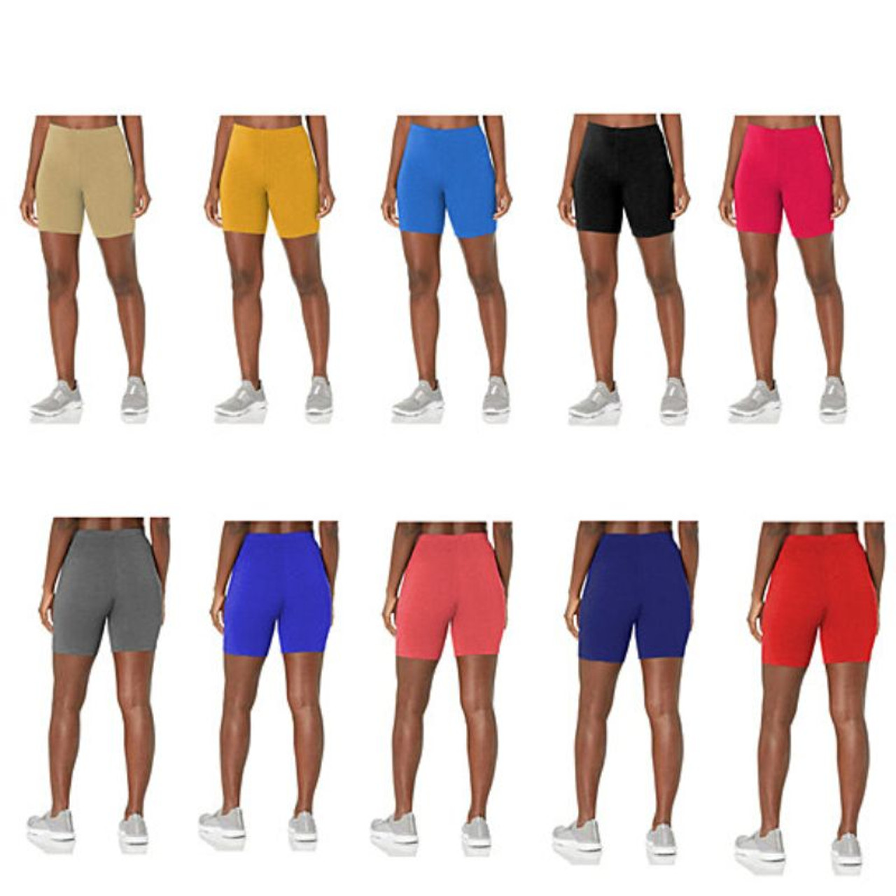 Women's Solid Slim Fit Comfy Stretchy Elastic Waistband Biker Shorts - 5 Pack