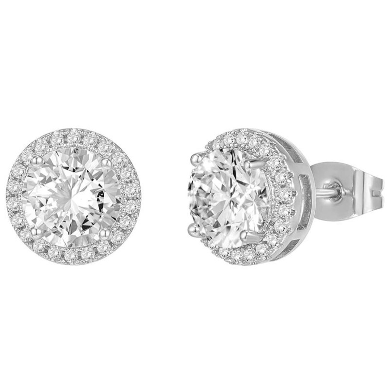 Solid Sterling Silver Round Cut Halo Studs Earrings