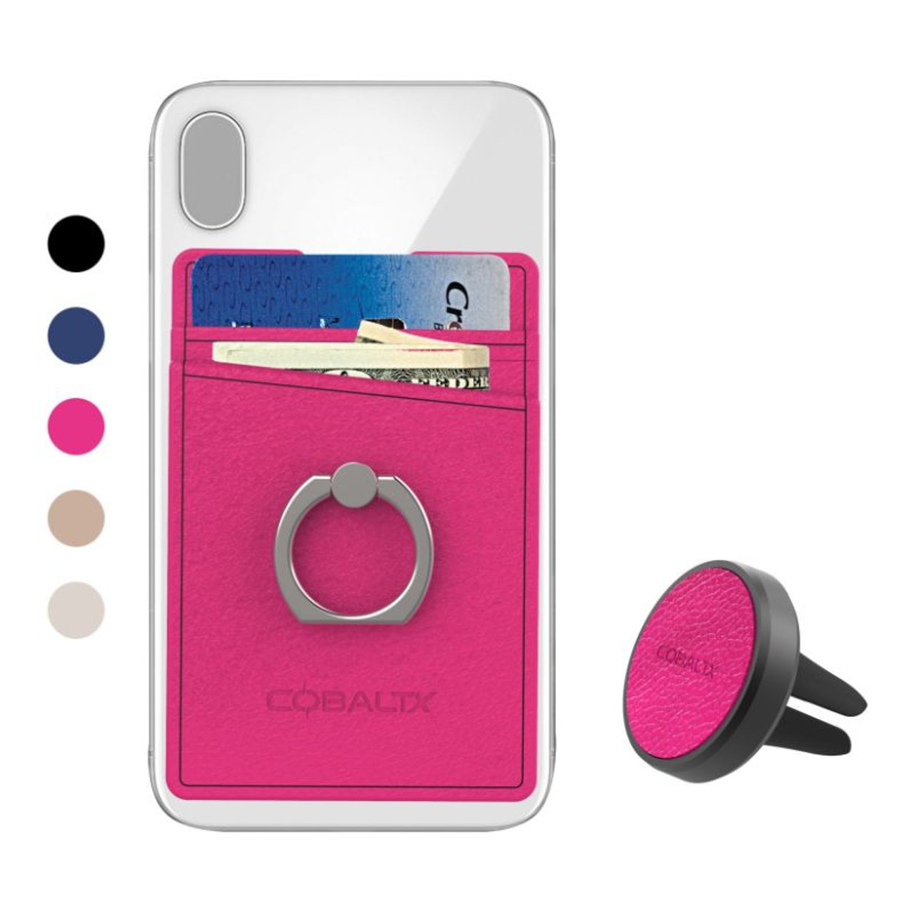 Leather Cell Phone Ring Wallet with Air Vent Mount