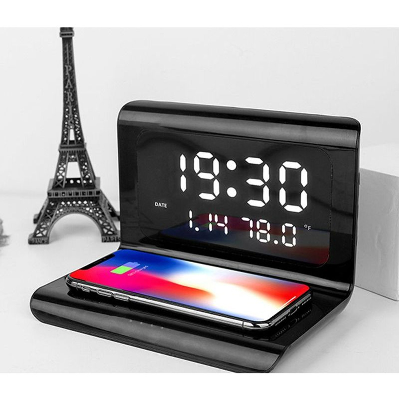 Alarm Clock with 10W Wireless Charging and LED Display