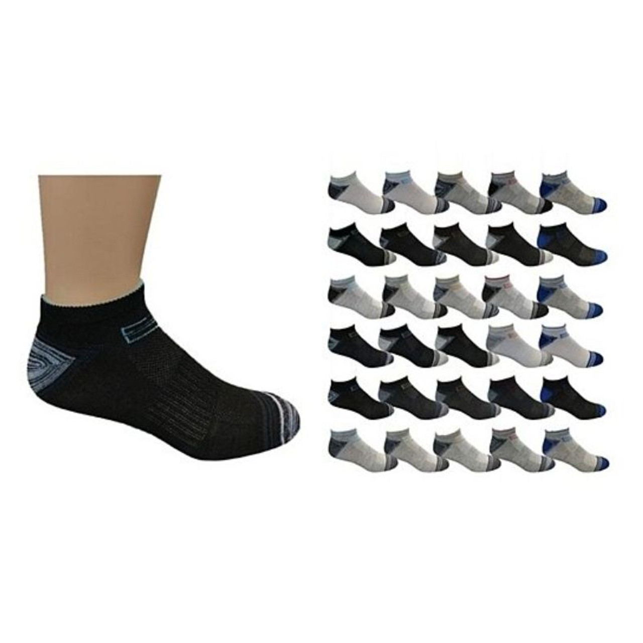 Mystery Deal: Assorted Men's Moisture Wicking Low-Cut Socks - 20 Pairs