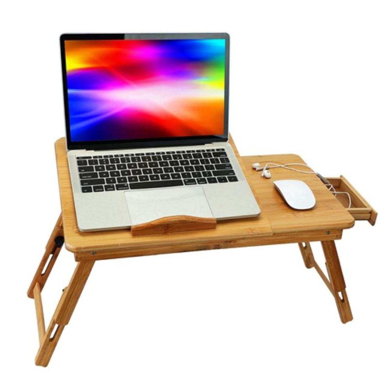 Bamboo Serving Tray, Laptop Pad, Foldable and Adjustable Side Storage