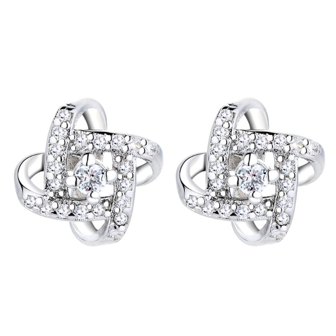 Sterling Silver Love Knot Stud Earrings With Swarovski Crystals