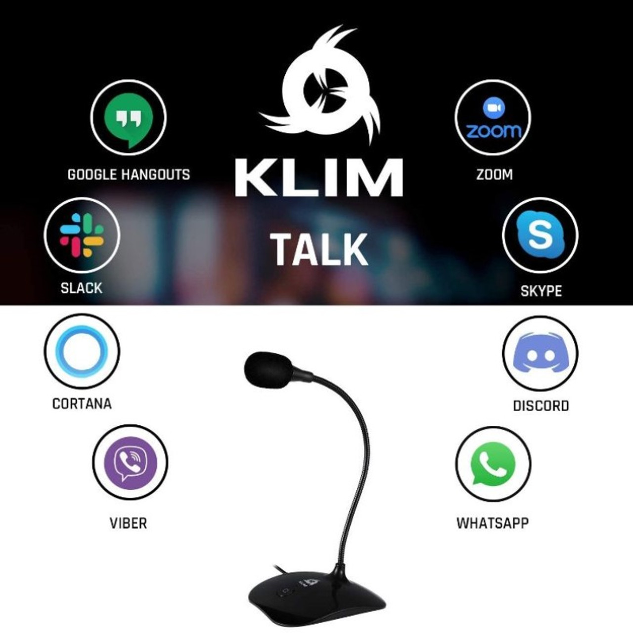 KLIM Talk - USB Desk Microphone - Compatible with Any PC, Laptop, Mac, PS4