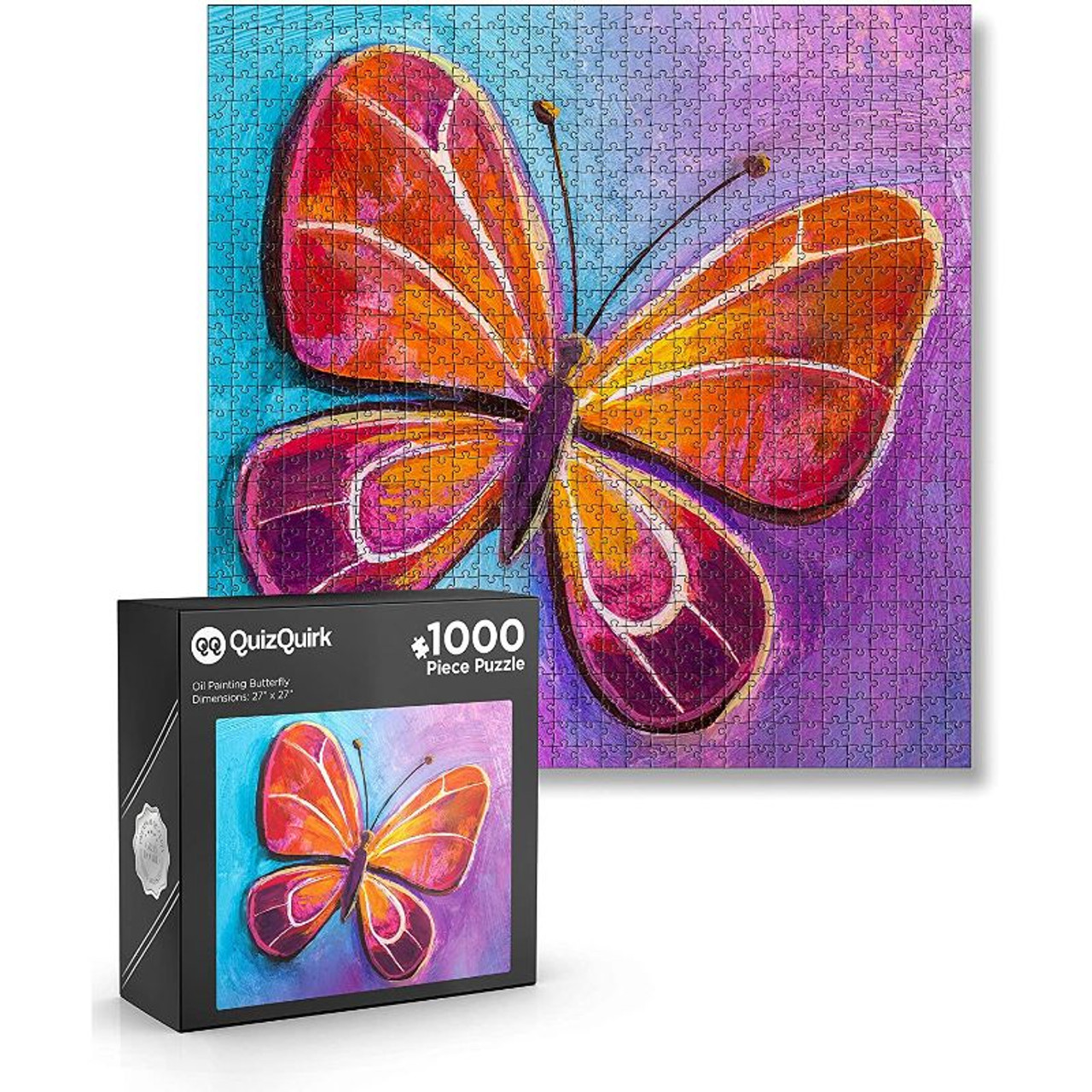QuizQuirk 300 Piece Round Tree of Life and 1000 Piece Butterfly Jigsaw Puzzles for Adults