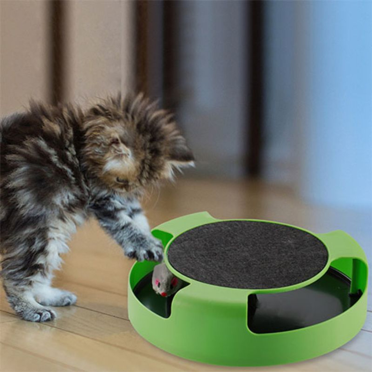 Cat Interactive Scratching Toy with Rotating Running Mouse