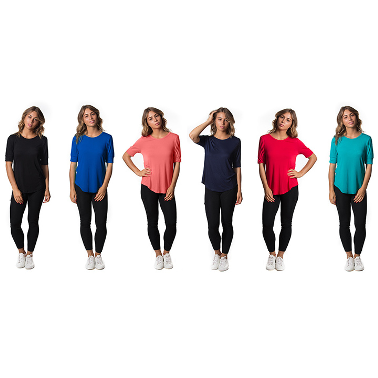 Womens Lightweight Stretch Tees - Assorted Colors - 3 Pack